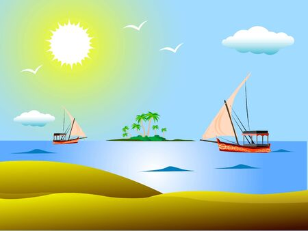 jacht in de buurt van zee eiland