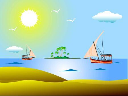 yatch in sea near island Stock Photo - 3316186