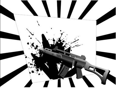 sten gun and grunge on sunburst background     Zdjęcie Seryjne