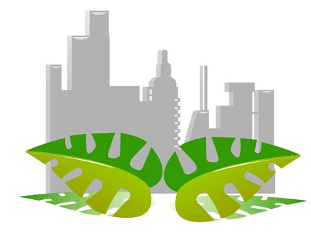 leaves in cityscape on isolated   background     photo