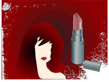 woman face and lipstick on abstract gradient background