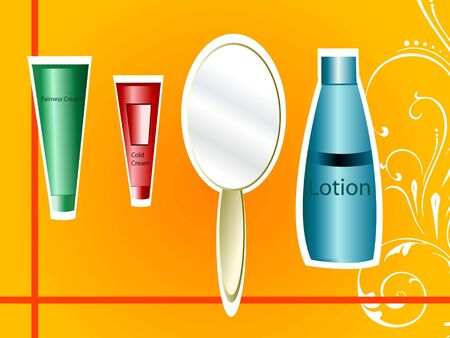 mirror and lotion on gradient background