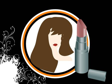 woman face and lipstick on circular background