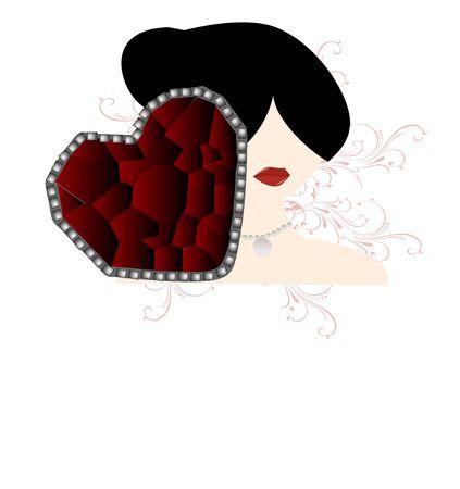 hart vorm steen en vrouw gezicht
