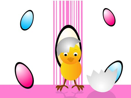 easter chick with decorated eggs   photo