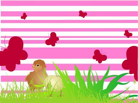 Easter kuiken op abstracte achtergrond Stockfoto - 3316407