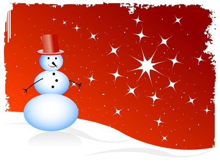 stary: snowman on stary background