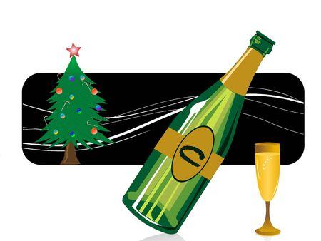 wijn fles en kerstboom