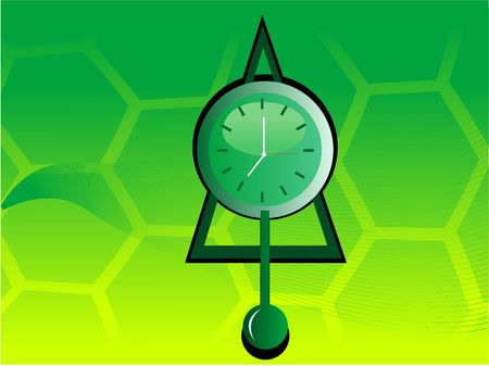 pendulum clock on hexagonal background  Stockfoto