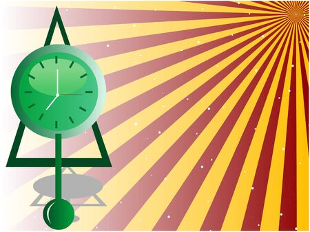 pendulum clock on sunburst background