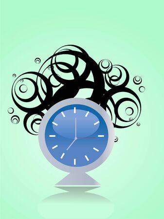 alarm clock on swirly background