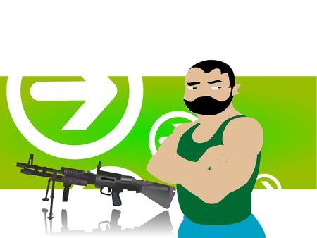 culprit: thief with sten gun on abstract background
