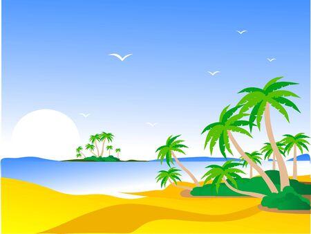 scène van het eiland met bomen en landschap Stockfoto