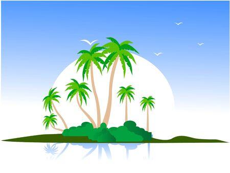 eiland met bomen en vogels in het daglicht van de     Stockfoto
