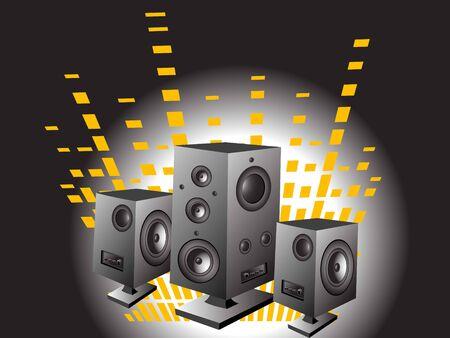 luidsprekers en de equalizer op de helling achtergrond Stockfoto