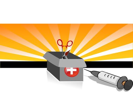 first aid box and syringe on text template background   Zdjęcie Seryjne
