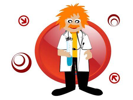 arts met een reageerbuis en stethoscoop