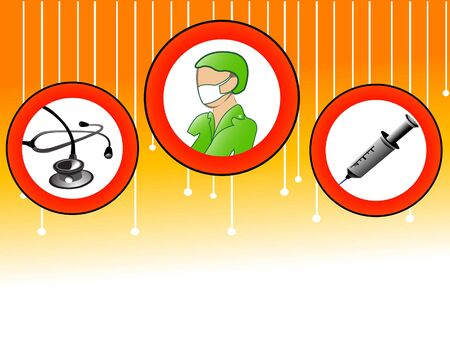 nurse and medical equipments on abstract background