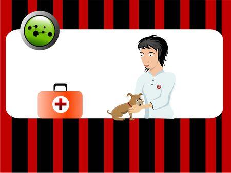 veterinair arts en hond met geneeskunde kit
