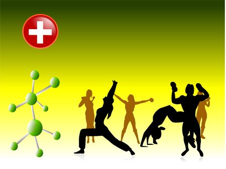 exercising people and redcross with particle bonding