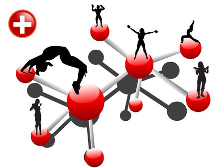 chemical bonding and exercising people on isolated background     photo
