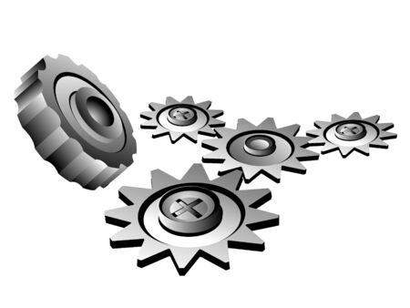 machinery gears on isolated background