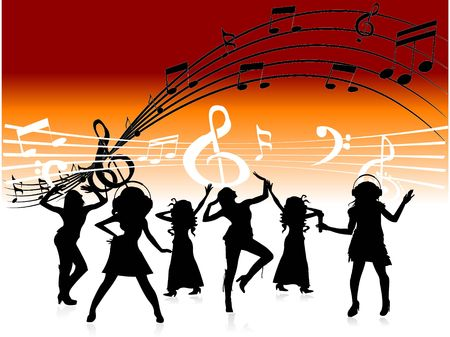 music background: people dancing on music notes     Stock Photo