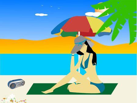 dame op het strand met paraplu