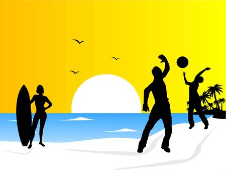 people playing volleyball on beach Stock Photo - 3316098