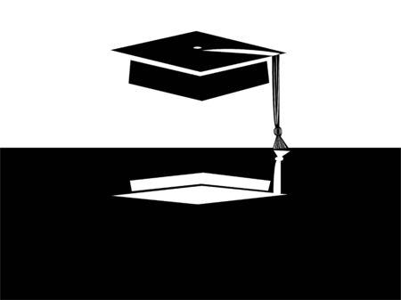 graduation cap in monocolor background