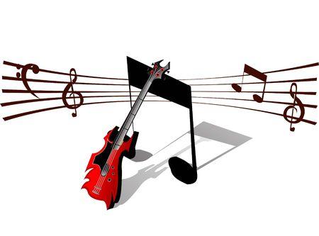 gitaar en muzikale noten op geïsoleerde achtergrond