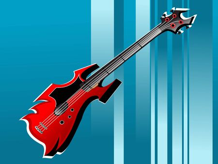 stijlvol gitaar op striped achtergrond