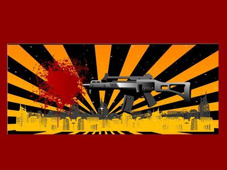 sten gun on abstract background