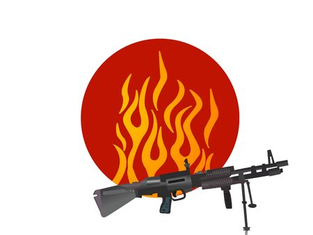 sten gun on fiery circular background Stock Photo - 3316036