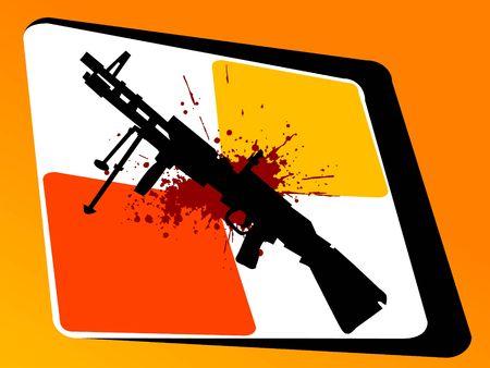 Sten pistool en bloed op abstracte achtergrond Stockfoto