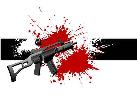 sten gun and blood on isolated background