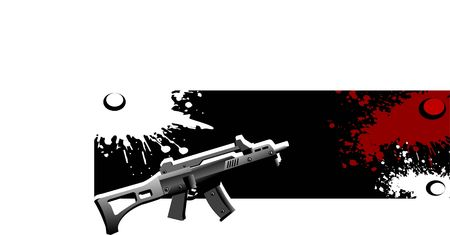 violent: sten gun with blood on grungy background