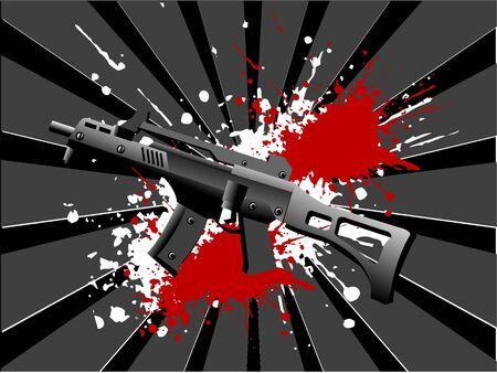 sten gun and blood on sunburst background     Stok Fotoğraf