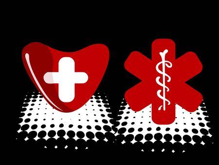 bandage ondertekenen en redcross op een halve toon achtergrond Stockfoto
