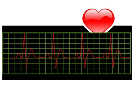 heart beat and heart on text template background   photo