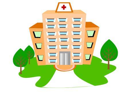 격리 된 배경에 병원 건물 스톡 콘텐츠