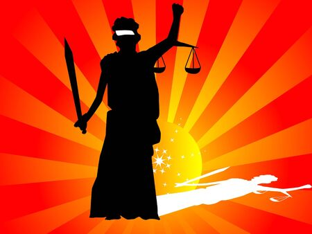 justice lady on sunburst background