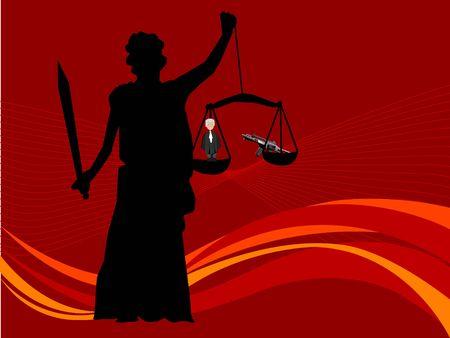 rechtvaardigheid dame op swirly achtergrond