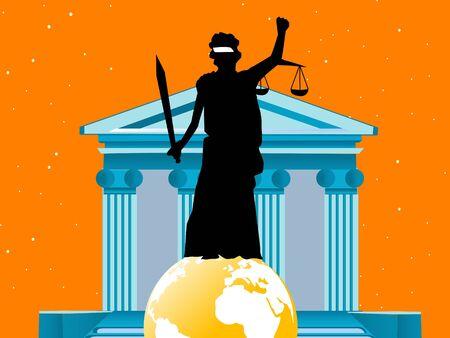 justice lady on globe near court   Stok Fotoğraf