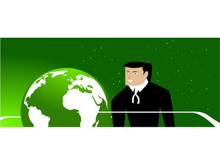 lawyer near globe on dotted gradient background   photo