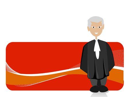 old judge on swirly background