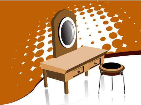 dressing table on halftone background