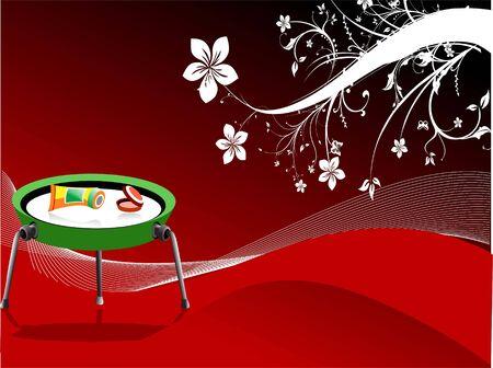 Buis en het gezicht poeder op tafel floral background Stockfoto - 3316447