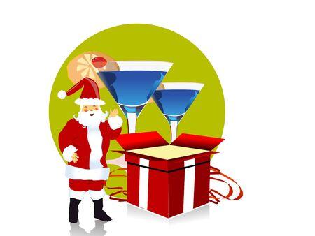 Santa claus in de buurt van giften en dranken