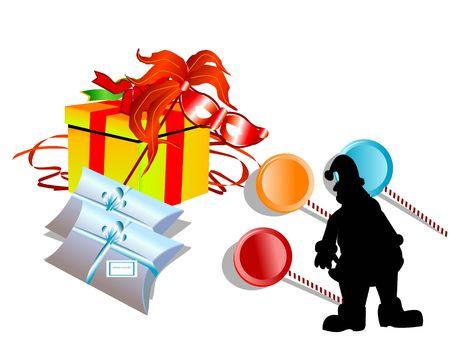 geschenken en toffees op zichzelf staande achtergrond   Stockfoto